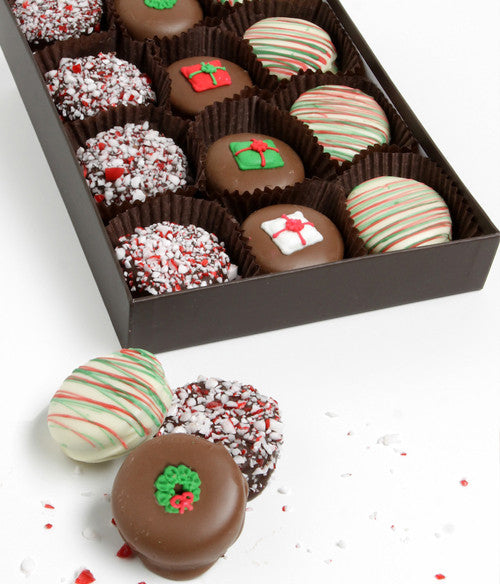 Christmas Peppermint Belgian Chocolate Covered Oreo Cookies Gift 12pc