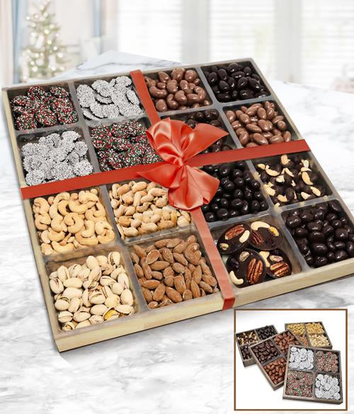 Supreme Holiday Belgian Chocolate, Nut and Snacks - Set of 4 Trays