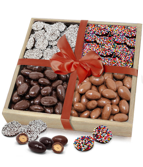 Celebration Belgian Chocolate Covered Almonds & Nonpareils Gift Tray