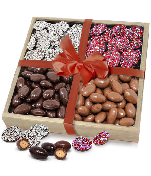 Loving Belgian Chocolate Covered Almonds & Nonpareils Gift Tray