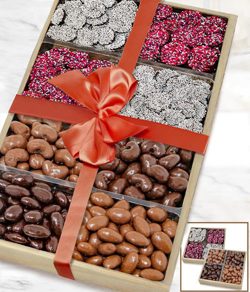 Loving Belgian Chocolate Covered Nut & Nonpareils Gift Tray Set