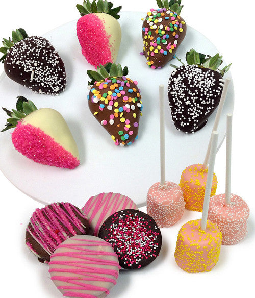 Spring Chocolate Covered Strawberry Trio - 14pc - Golden Edibles