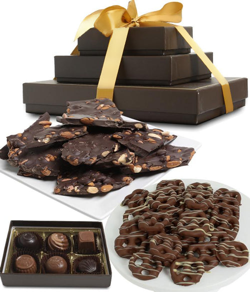 Sweet and Salty Dark Belgian Chocolate Gift Tower - Chocolate Covered Company®