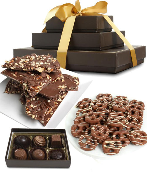 Sweet and Salty Milk Belgian Chocolate Gift Tower - Chocolate Covered Company®