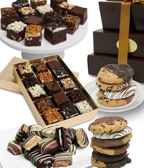 Classic Elegant Cookie and Brownie Tower