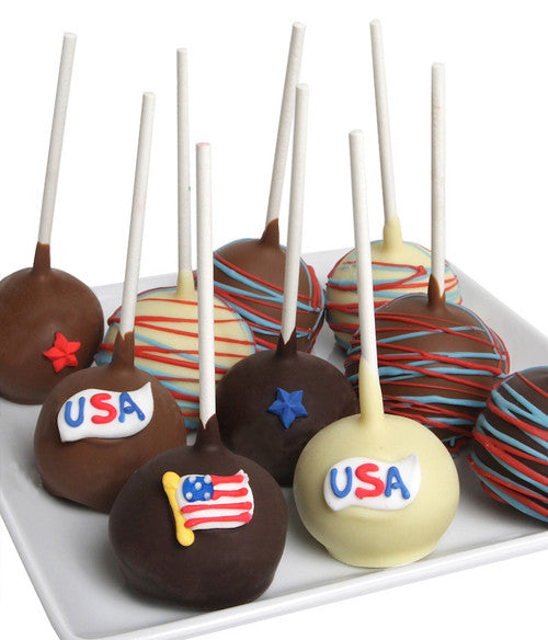 Patriotic Chocolate Dipped Cake Pops - Golden Edibles