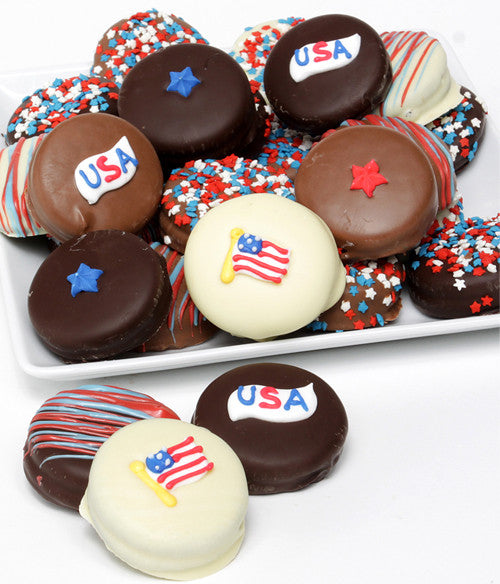Patriotic Belgian Chocolate-Dipped OREO® Cookies Gift - 12pc - Golden Edibles