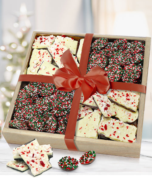 Holiday Belgian Chocolate Bark & Nonpareils Gift Tray - Chocolate Covered Company®