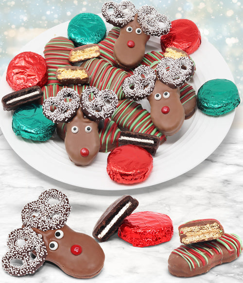 Reindeer Belgian Chocolate Covered Cookie Sampler - 18pc - Chocolate Covered Company®