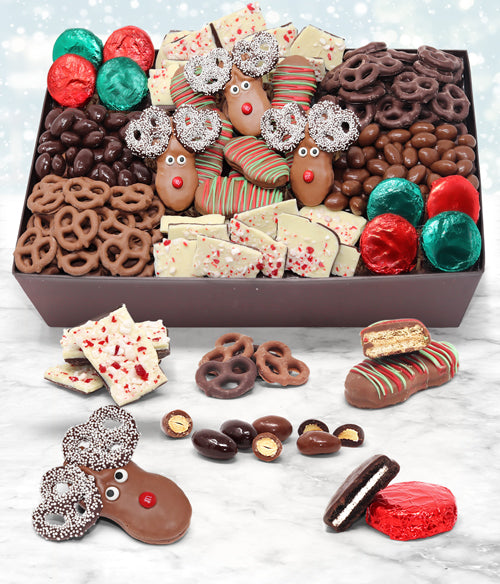 Holiday Favorite Belgian Chocolate Snack Gift Basket Tray - Chocolate Covered Company®