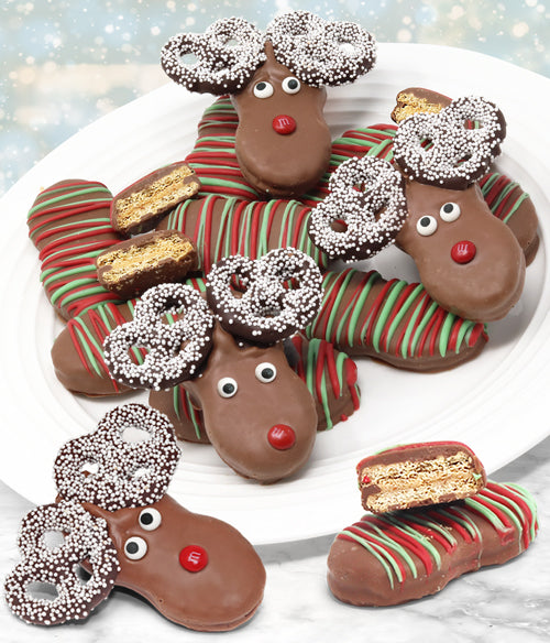 Reindeer Belgian Chocolate Covered Nutter Butter Cookies Gift Box 12pc