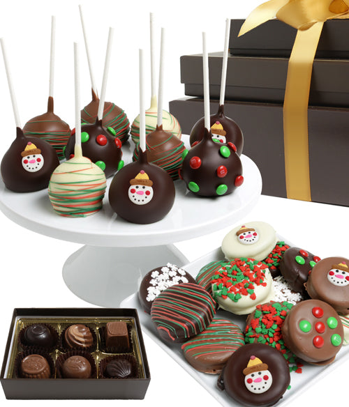SPECTACULAR FESTIVE Belgian Chocolate Covered Gift Tower - Chocolate Covered Company®