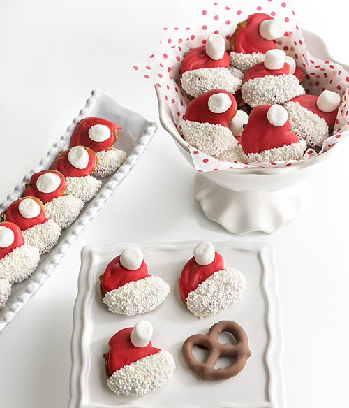 Santa Hat Holiday Chocolate Covered Mini Pretzels - 24pc - Chocolate Covered Company®