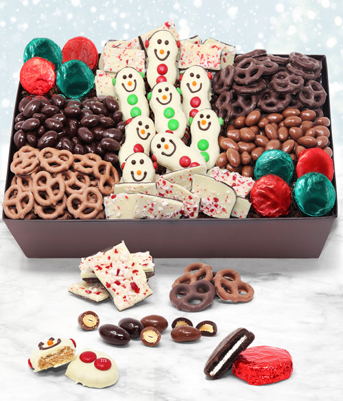 Holiday Snowman Belgian Chocolate Snack Gift Basket Tray - Chocolate Covered Company®