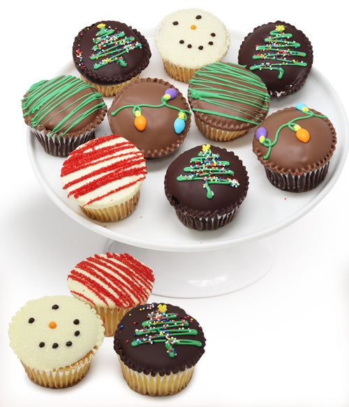 Christmas Belgian Chocolate Covered Cupcakes - 12pc - Chocolate Covered Company®