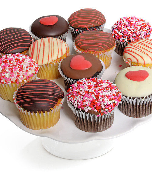 Valentine's Day Belgian Chocolate Covered Cupcakes - 12pc - Chocolate Covered Company®