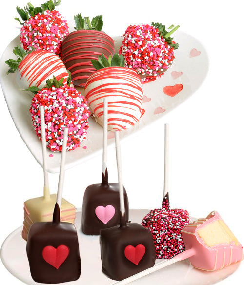 Valentine's Day Belgian Chocolate Covered Strawberries & Cheesecakes Pops - Chocolate Covered Company®