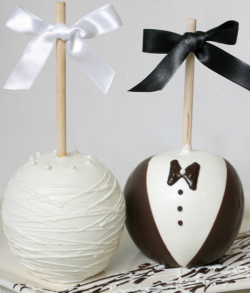 Bride and Groom Caramel Apple Gift - Golden Edibles