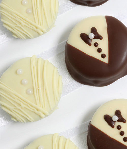 Bride & Groom Belgian Chocolate-Dipped OREO® Cookies Gift - 12pc - Golden Edibles