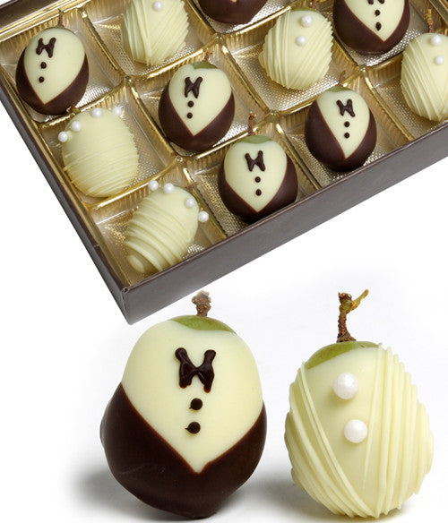 Wedding Belgian Chocolate-Dipped Grapes Gift - 12pc - Golden Edibles