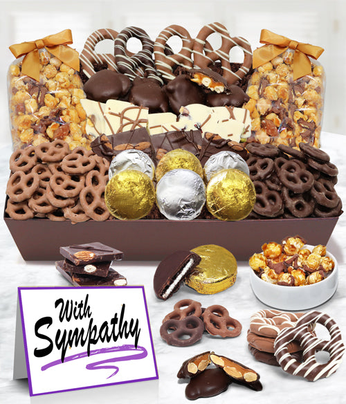 WITH SYMPATHY - Sensational Belgian Chocolate Snack Gift Basket Tray - Chocolate Covered Company®