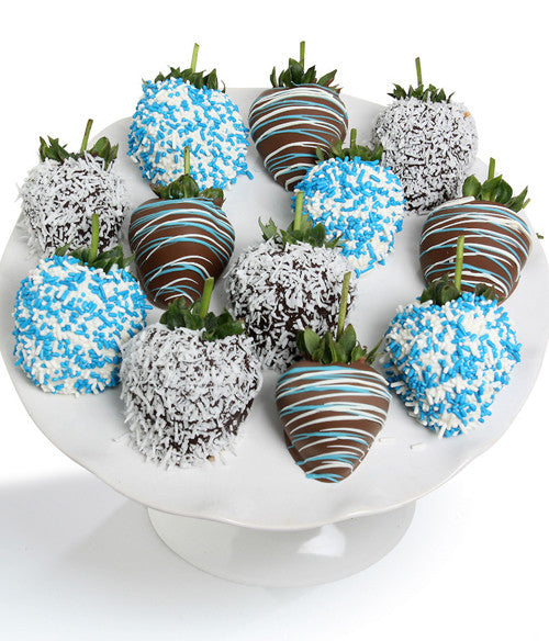 Baby Boy Chocolate Strawberries - 12pc - Golden Edibles