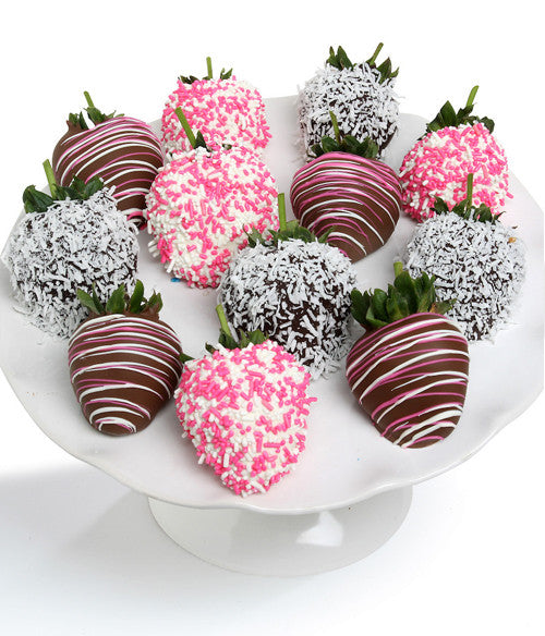 Baby Girl Chocolate Strawberries - 12pc - Golden Edibles