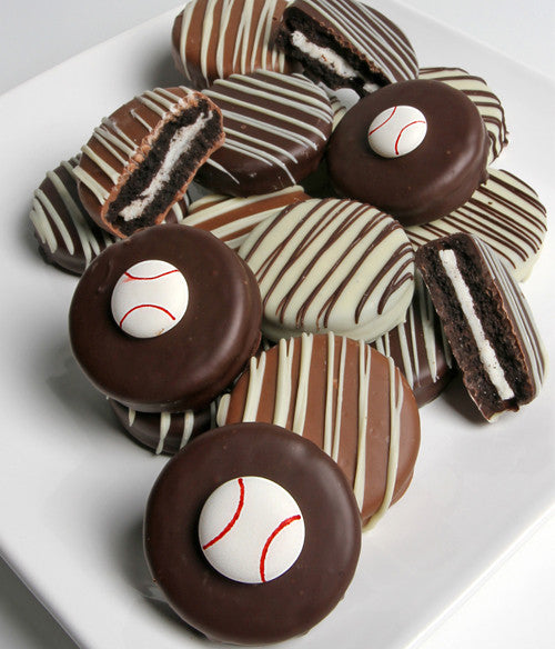 Baseball Belgian Chocolate-Dipped Oreo® Cookies Gift - 12pc - Golden Edibles