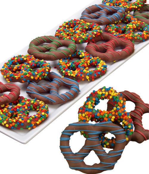 Birthday Chocolate Covered Pretzel Twists- 12pc - Golden Edibles