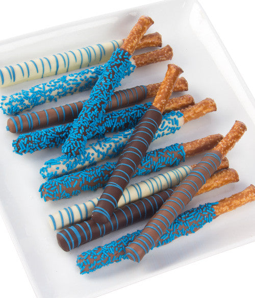 Baby Boy Blue Belgian Chocolate Covered Pretzels - 12pc - Chocolate Covered Company®