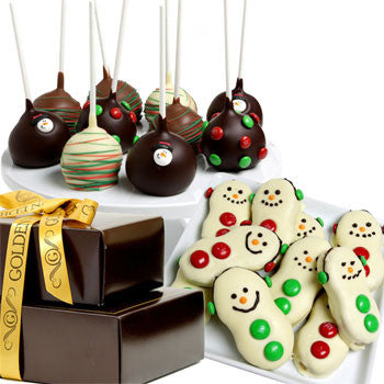 FESTIVE DELIGHT Chocolate Covered Gourmet Gift Tower - Golden Edibles