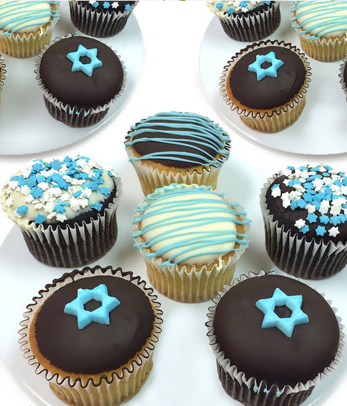 Hanukkah Chocolate Covered Cupcakes - 12pc - Golden Edibles