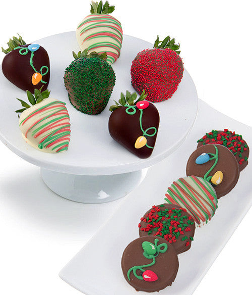 Christmas Lights Chocolate Covered Strawberries & OREO® Cookies - 12pc - Golden Edibles