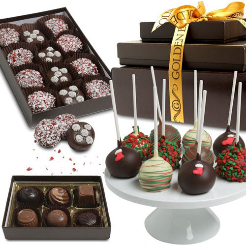 HAPPY HOLIDAYS Belgian Chocolate Gift Tower - Golden Edibles