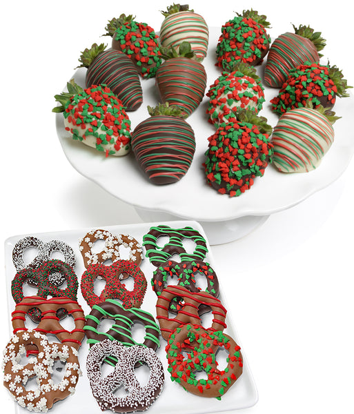 Holiday Chocolate Strawberries & Pretzels - 24pc