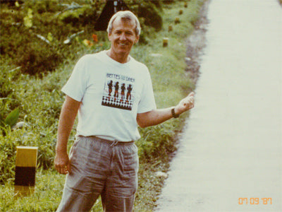 Mike, visiting farms in Sumatra in 1987