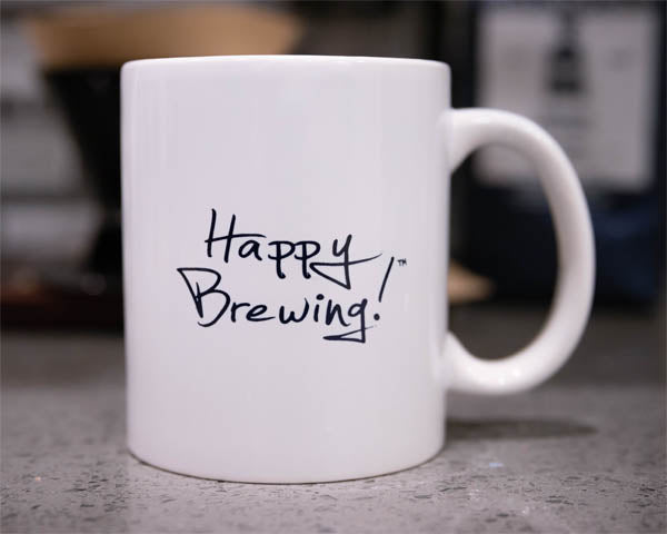 "MCLAUGHLIN COFFEE ""HAPPY BREWING!"" MUG"