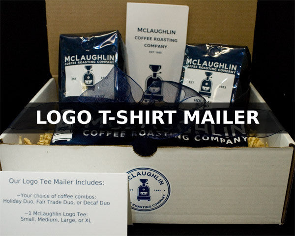 COFFEE GIFT PACKAGE WITH LOGO T-SHIRT - McLaughlin Coffee Roasting Company