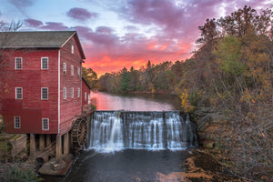 Autumn sunset at Dells Mill Museum near Augusta, Wisconsin.