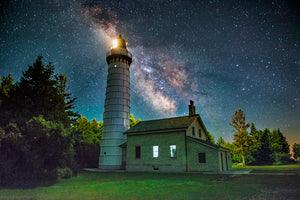 Cana Island Lighthouse with the Milky Way Galaxy in the background in Door County, Wisconsin.