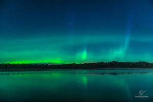 Northern Lights over Biron Flowage outside of Wisconsin Rapids, Wisconsin.
