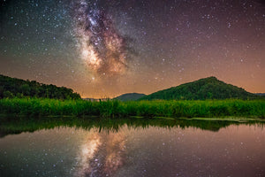 Perrot State Park with Milky Way Galaxy at night.