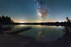 Milky Way over dock at Coon Fork Lake.
