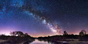 Milky Way Galaxy over the Red Cedar River near Dunnville, Wisconsin.