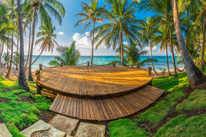Meditation deck at sunset on Little Corn Island in Nicaragua.