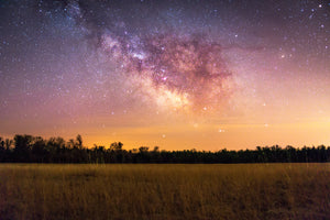 Milky Way Galaxy over a field at Augusta State Wildlife Area near Augusta, Wisconsin.