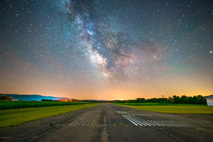 Milky Way Galaxy over a runway at an airport near Durand, Wisconsin.