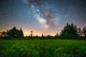 Milky Way Galaxy over marsh and tamarack swamp in the Meadow Valley State Wildlife Area near Babcock, Wisconsin.