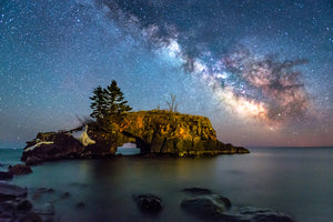Milky Way Galaxy over Hollow rock in Lake Superior near Grand Portage, Minnesota.