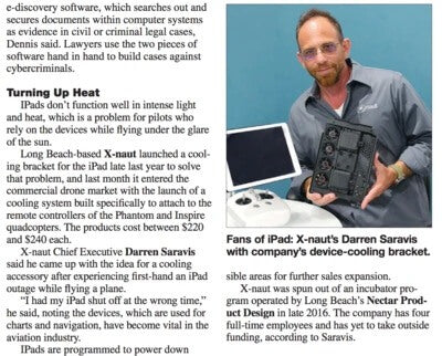 Fans of iPad: X-Naut's Darren Saravis with Company's Device Cooling Bracket - Featured in Los Angeles Business Journal
